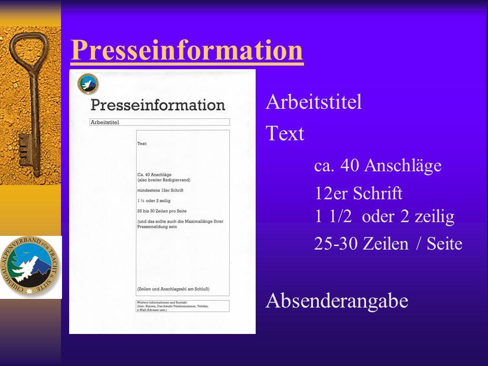 Presseinformation Arbeitstitel Text ca. 40 Anschläge