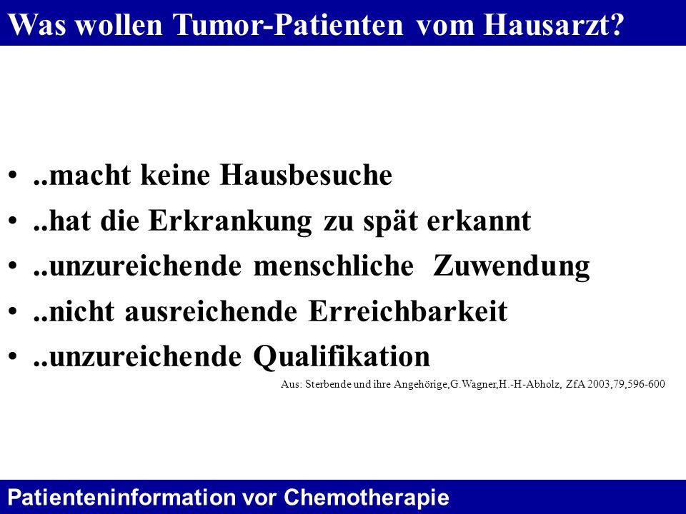 Was wollen Tumor-Patienten vom Hausarzt