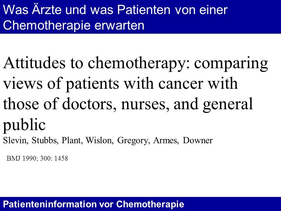 Was Ärzte und was Patienten von einer Chemotherapie erwarten