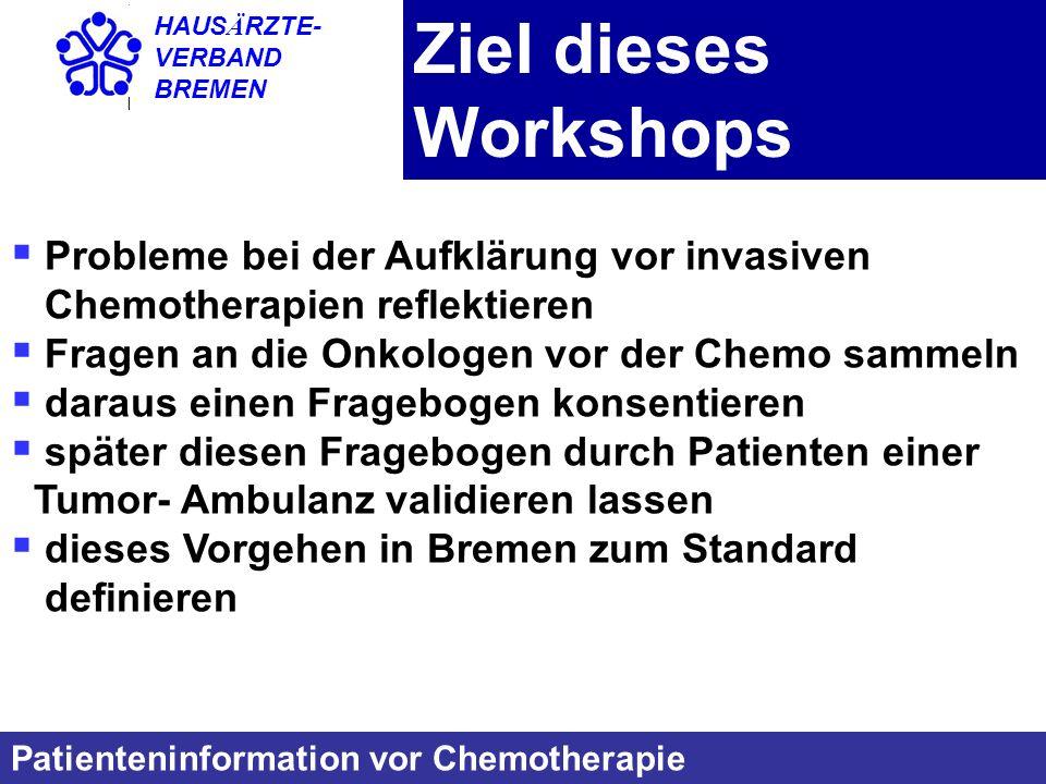 Ziel dieses Workshops Probleme bei der Aufklärung vor invasiven