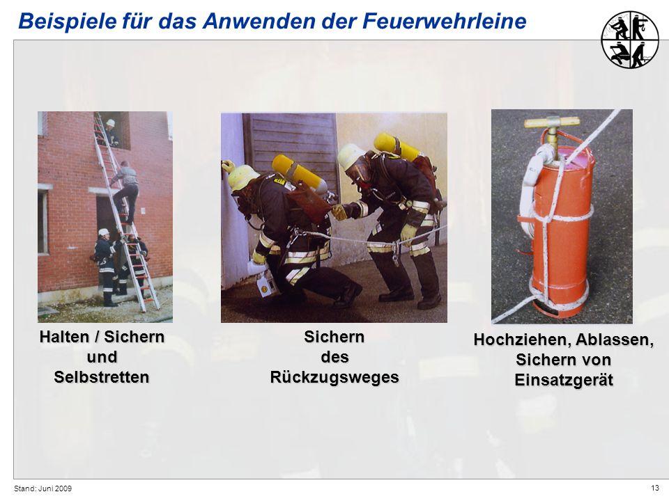 Beispiele für das Anwenden der Feuerwehrleine