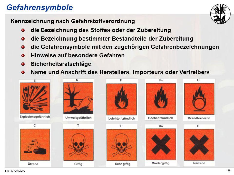 Gefahrensymbole Kennzeichnung nach Gefahrstoffverordnung