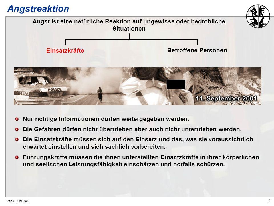 Angstreaktion Angst ist eine natürliche Reaktion auf ungewisse oder bedrohliche Situationen. Einsatzkräfte.