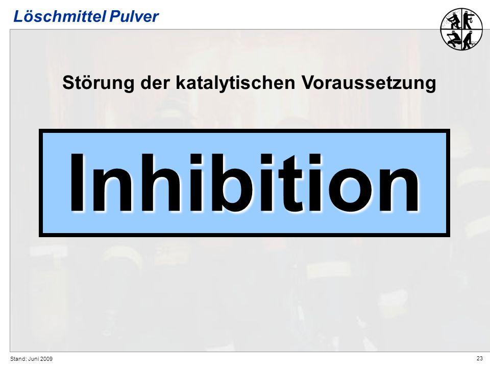Inhibition Störung der katalytischen Voraussetzung Löschmittel Pulver
