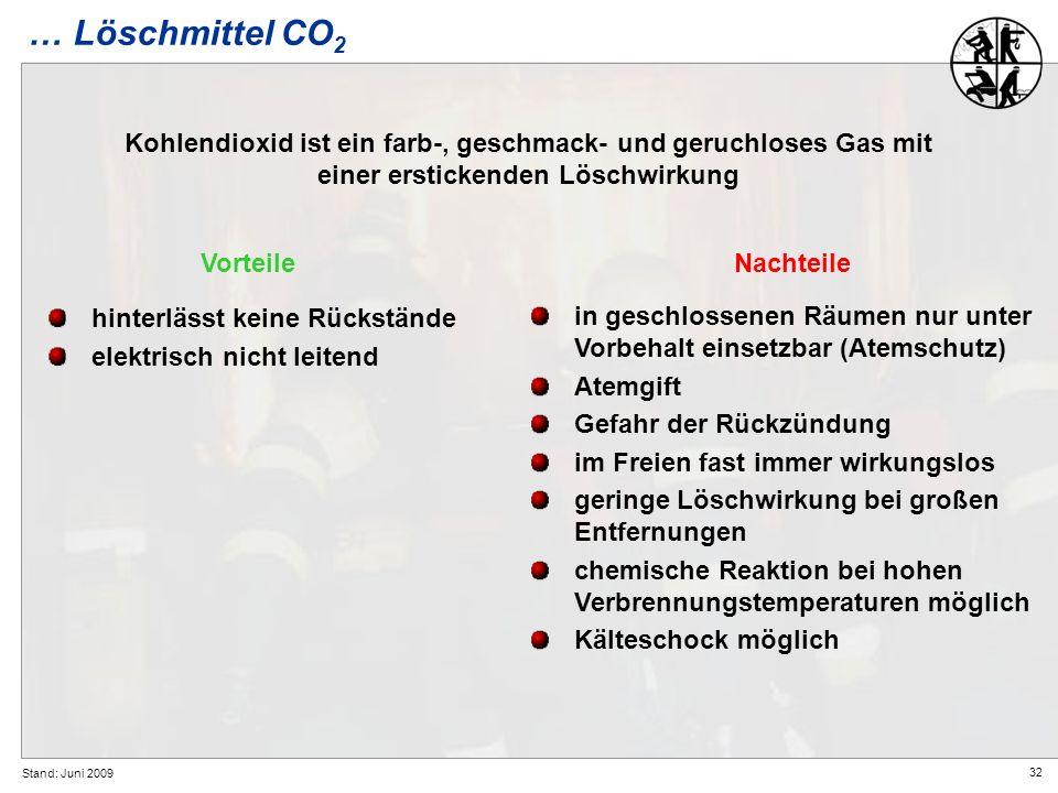 … Löschmittel CO2 Kohlendioxid ist ein farb-, geschmack- und geruchloses Gas mit einer erstickenden Löschwirkung.