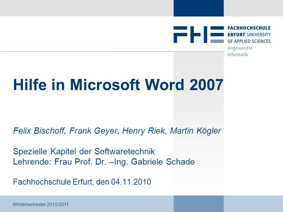 Hilfe in Microsoft Word 2007