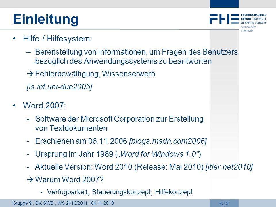 Einleitung Hilfe / Hilfesystem: Word 2007: