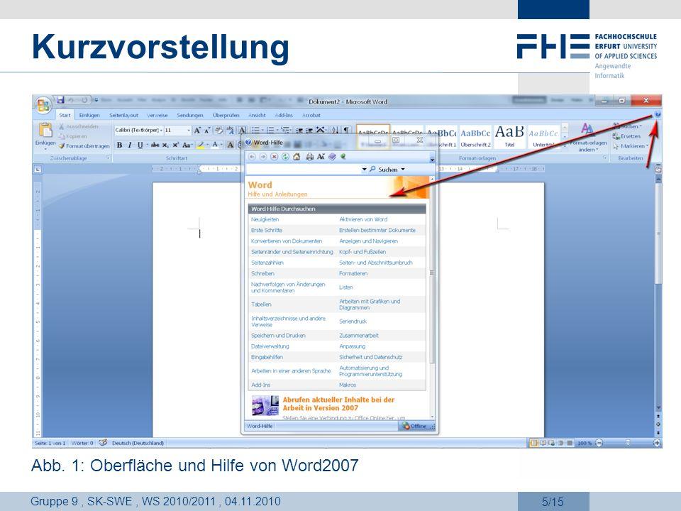 Kurzvorstellung Abb. 1: Oberfläche und Hilfe von Word2007