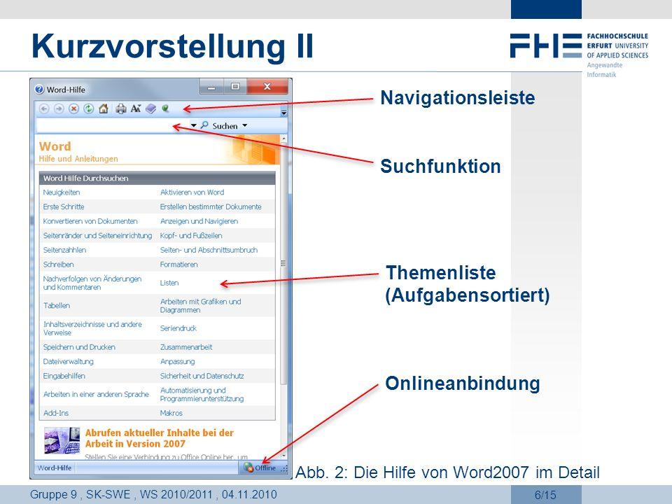 Kurzvorstellung II Navigationsleiste Suchfunktion