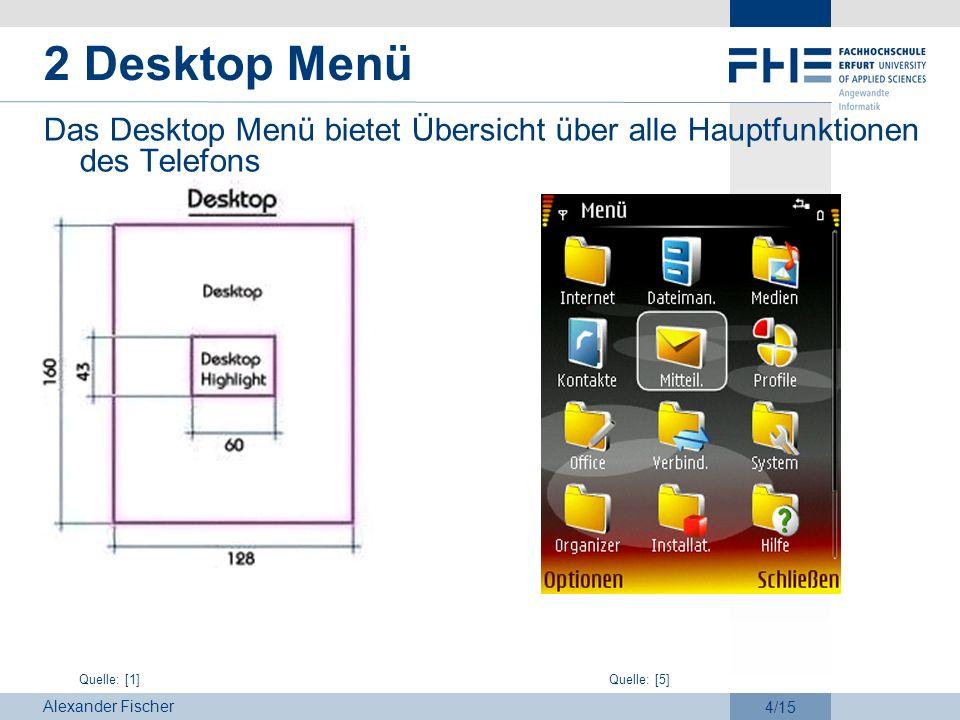 2 Desktop MenüDas Desktop Menü bietet Übersicht über alle Hauptfunktionen des Telefons.