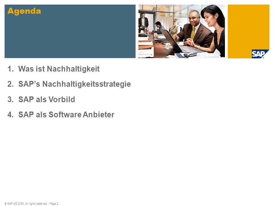 Agenda Was ist Nachhaltigkeit SAP's Nachhaltigkeitsstrategie