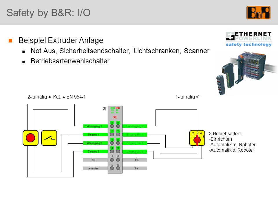 Safety by B&R: I/O Beispiel Extruder Anlage