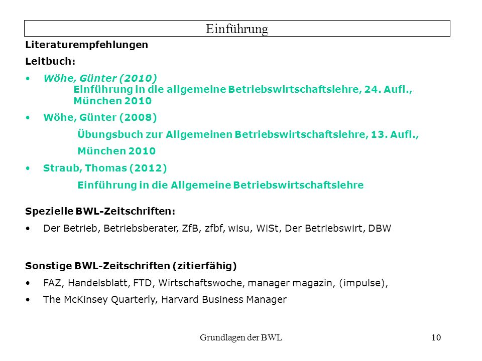 Einführung Literaturempfehlungen Leitbuch: