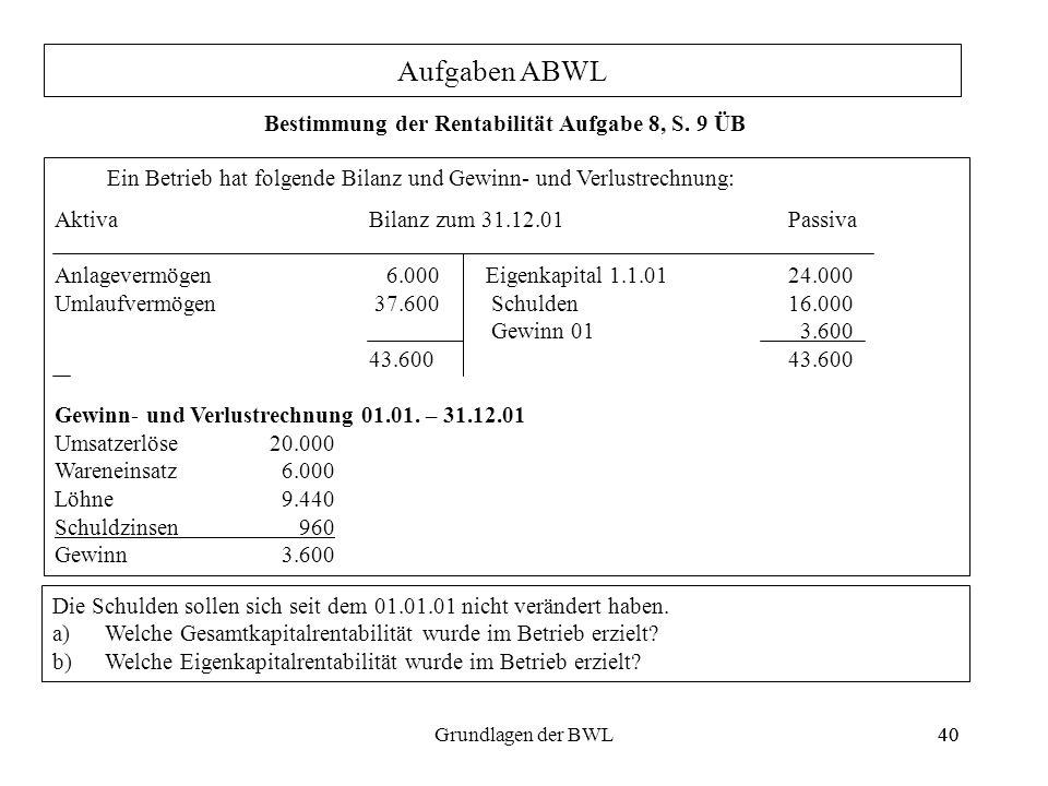 Bestimmung der Rentabilität Aufgabe 8, S. 9 ÜB