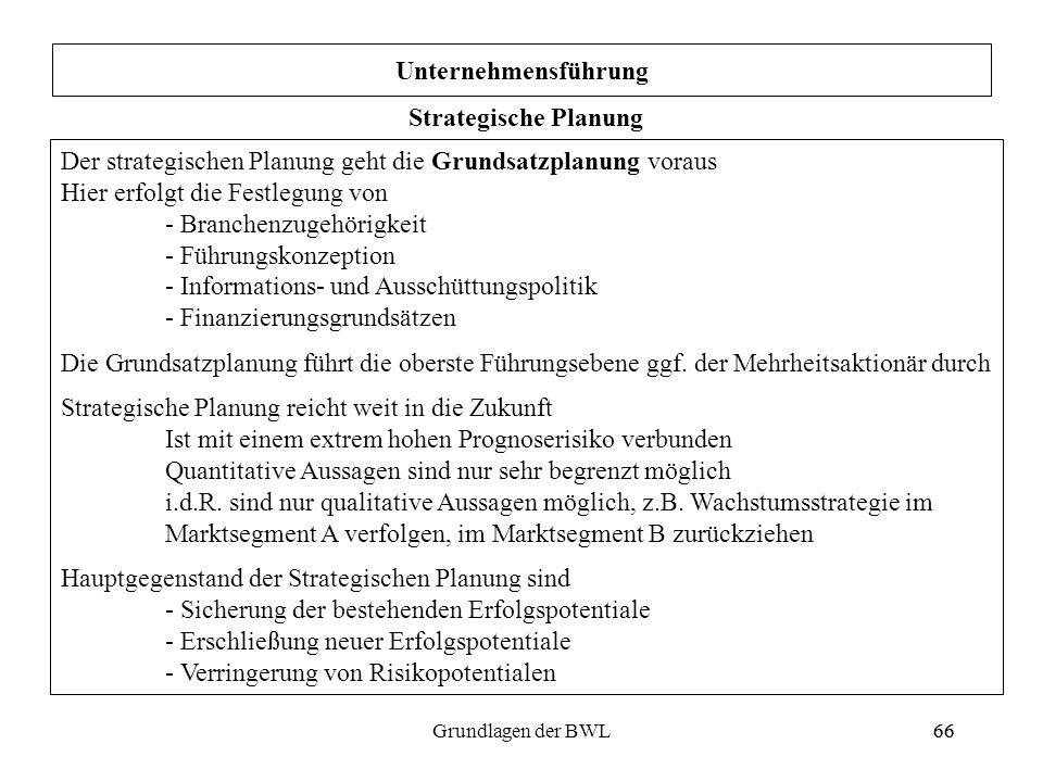 Unternehmensführung Strategische Planung