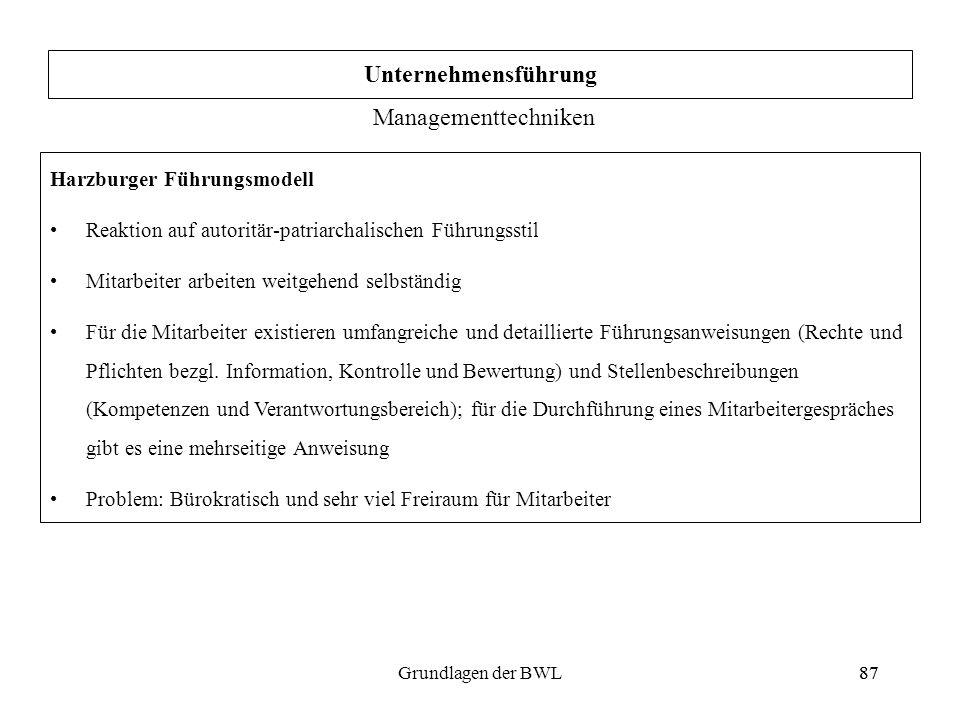 Unternehmensführung Managementtechniken Harzburger Führungsmodell