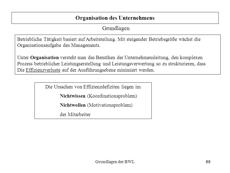 Organisation des Unternehmens