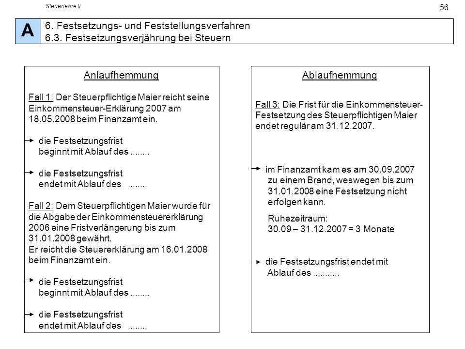 Steuerlehre II A. 6. Festsetzungs- und Feststellungsverfahren 6.3. Festsetzungsverjährung bei Steuern.