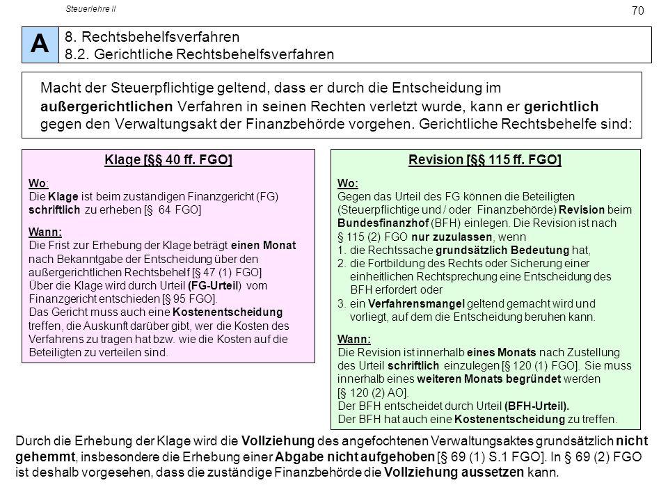 Steuerlehre II A. 8. Rechtsbehelfsverfahren 8.2. Gerichtliche Rechtsbehelfsverfahren.