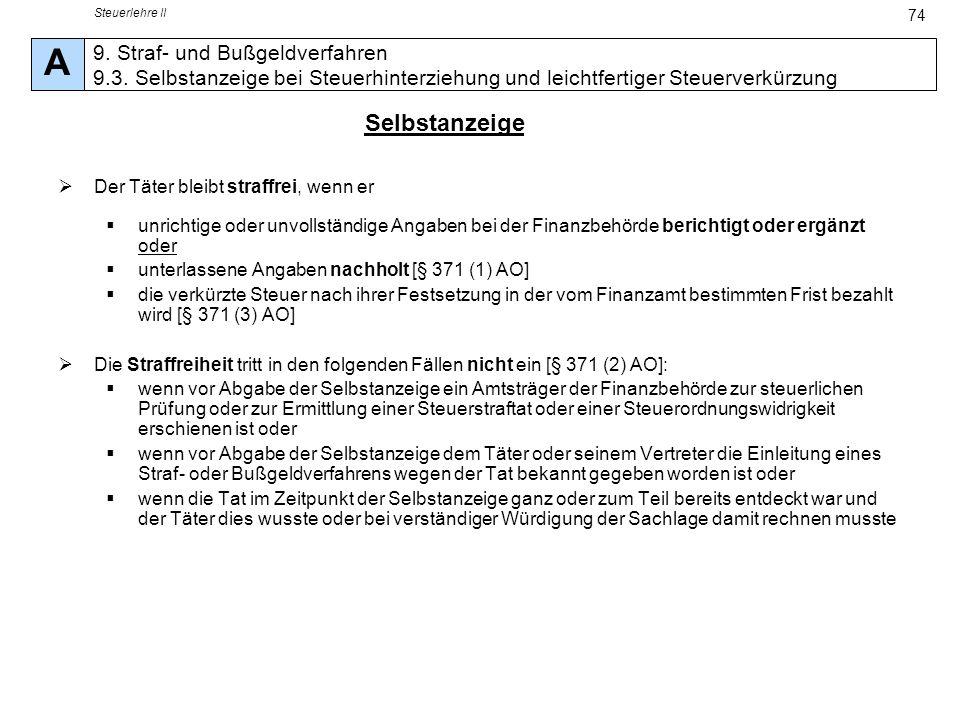 Steuerlehre II A. 9. Straf- und Bußgeldverfahren 9.3. Selbstanzeige bei Steuerhinterziehung und leichtfertiger Steuerverkürzung.