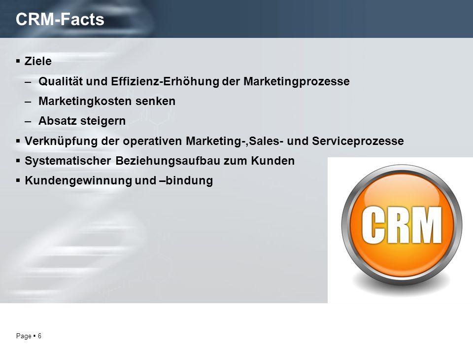 CRM-Facts Ziele Qualität und Effizienz-Erhöhung der Marketingprozesse