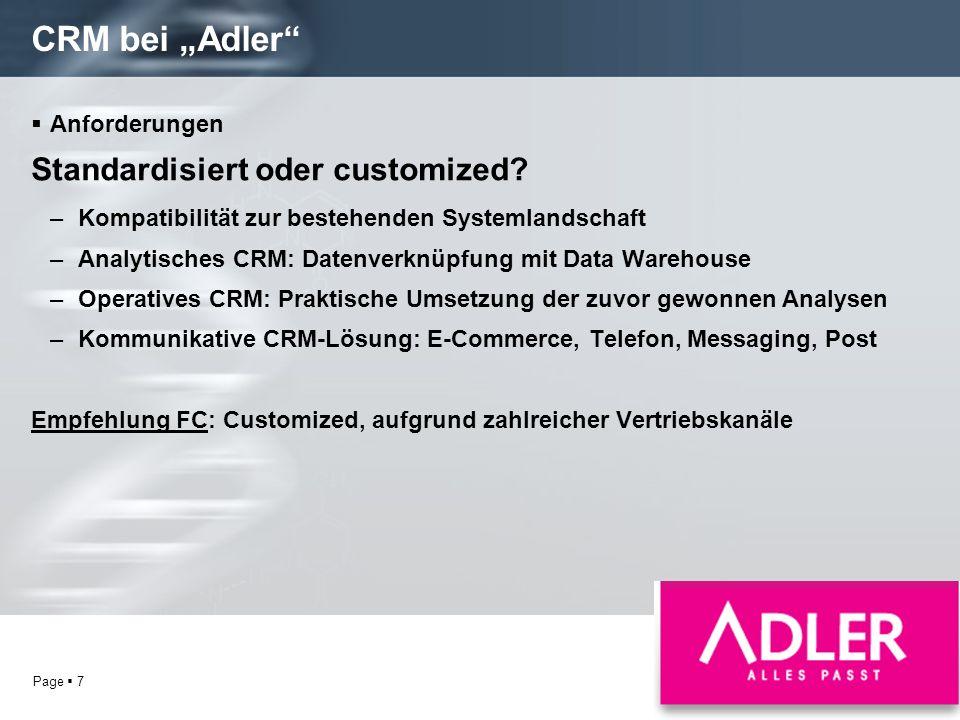 """CRM bei """"Adler Standardisiert oder customized Anforderungen"""