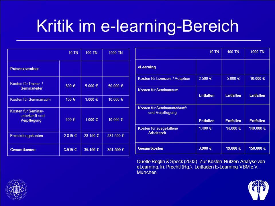 Kritik im e-learning-Bereich