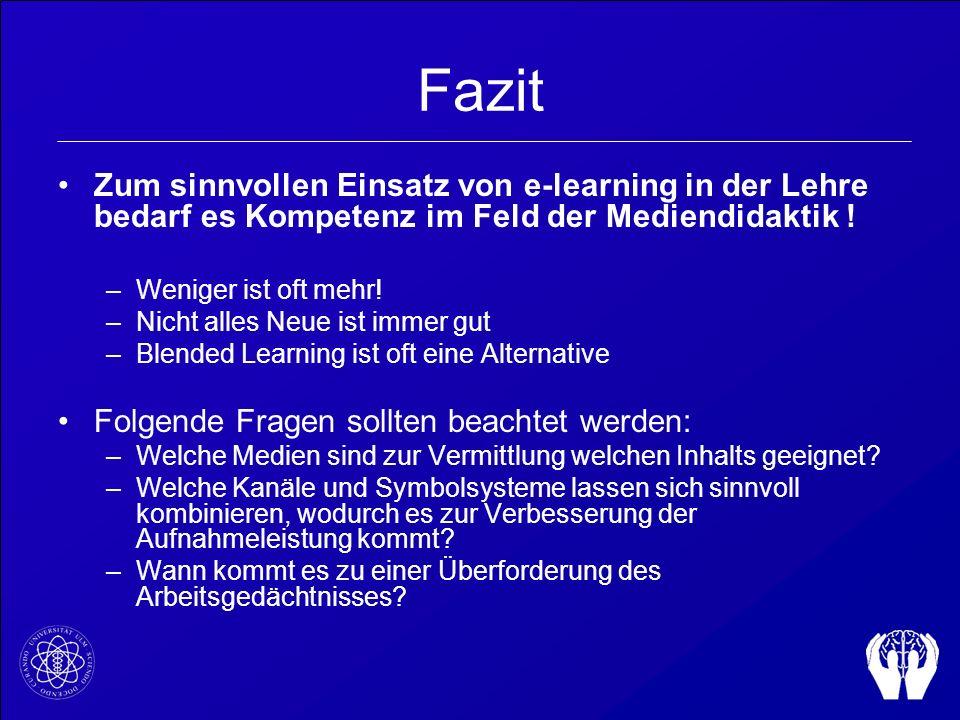 Fazit Zum sinnvollen Einsatz von e-learning in der Lehre bedarf es Kompetenz im Feld der Mediendidaktik !