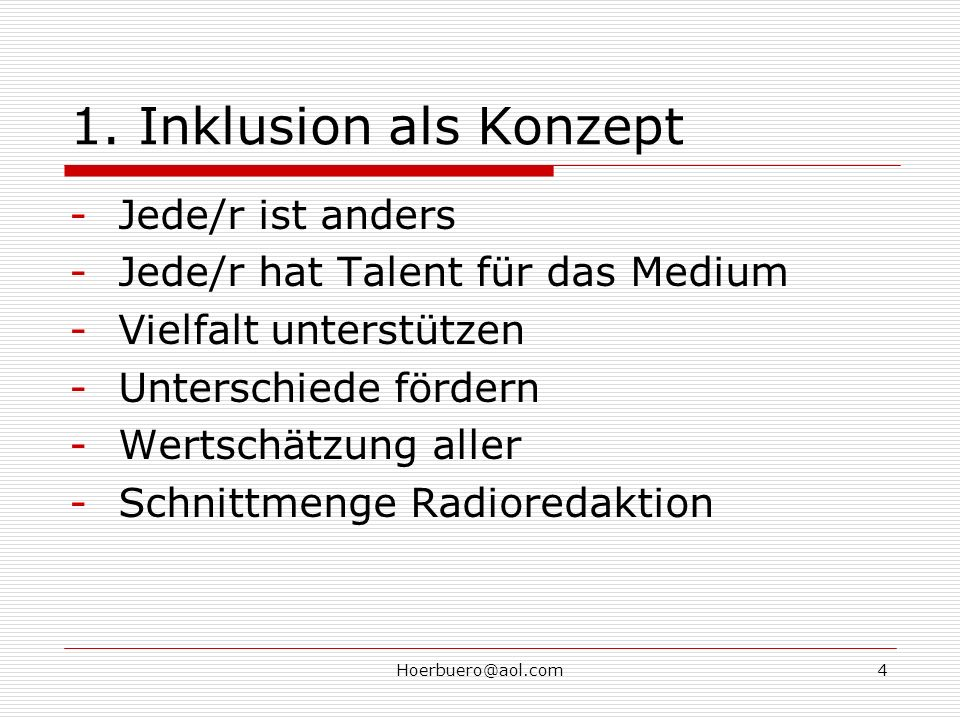1. Inklusion als Konzept Jede/r ist anders