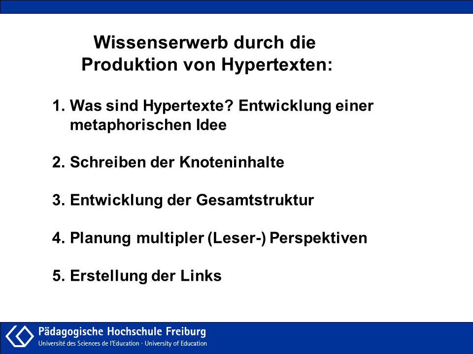 Wissenserwerb durch die Produktion von Hypertexten:
