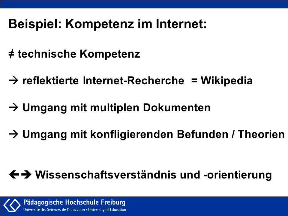Beispiel: Kompetenz im Internet: