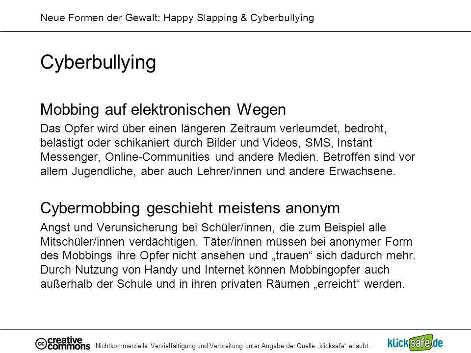 Neue Formen der Gewalt: Happy Slapping & Cyberbullying