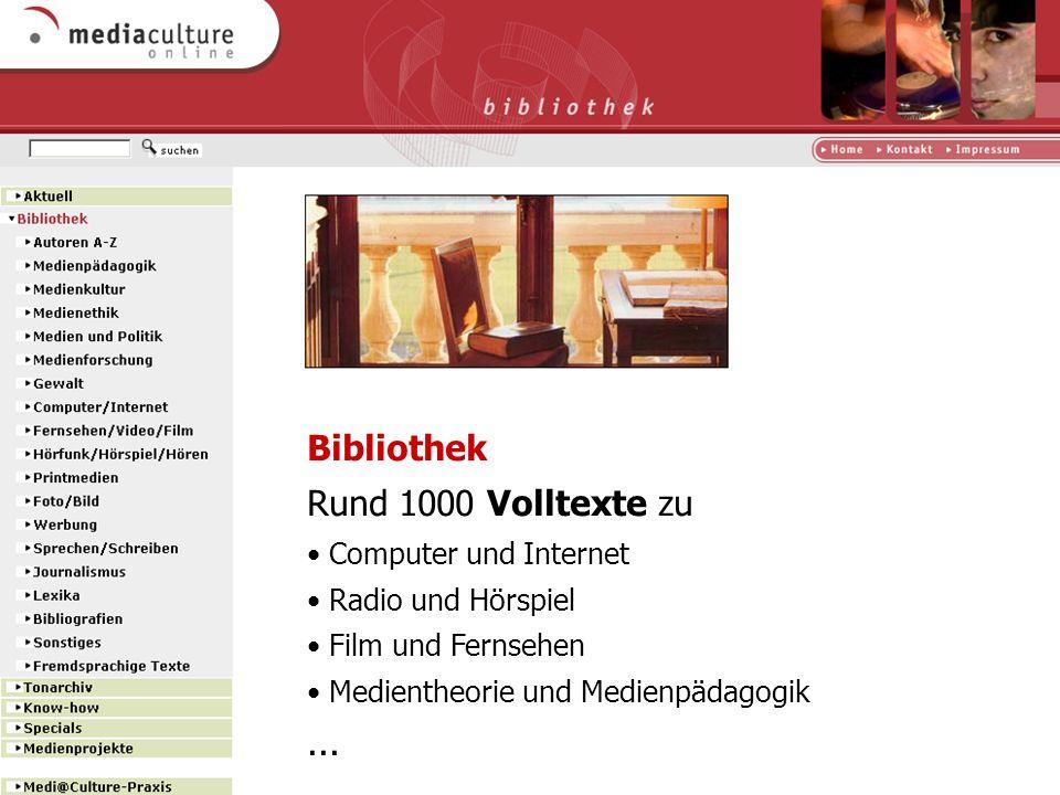 Bibliothek Rund 1000 Volltexte zu ... Computer und Internet