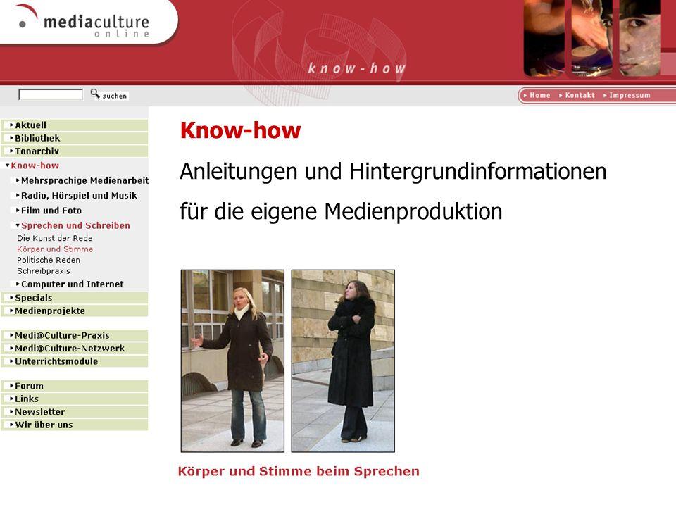 Know-how Anleitungen und Hintergrundinformationen für die eigene Medienproduktion