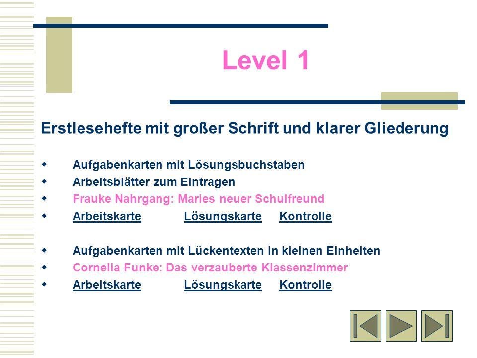 Level 1 Erstlesehefte mit großer Schrift und klarer Gliederung