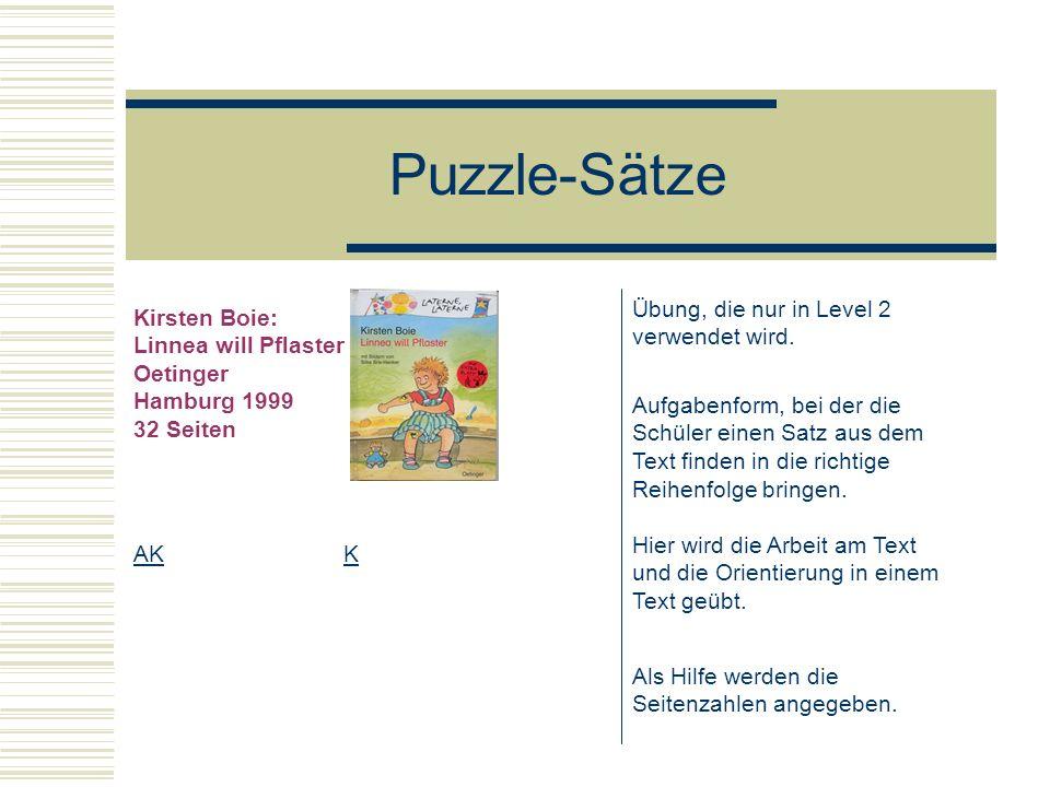 Puzzle-Sätze Übung, die nur in Level 2 verwendet wird. Kirsten Boie: