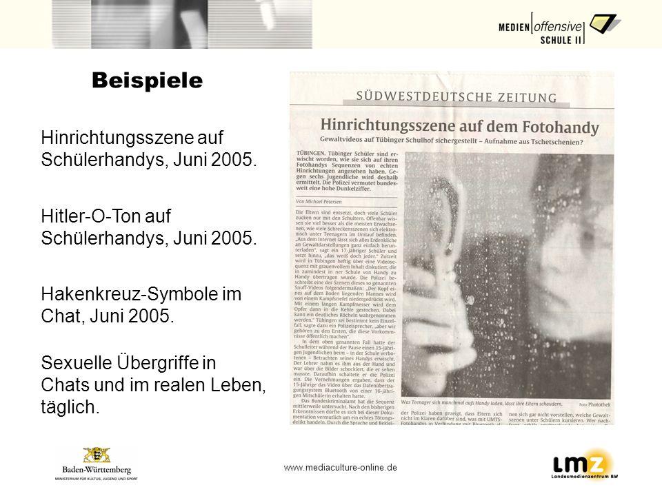 Beispiele Hinrichtungsszene auf Schülerhandys, Juni 2005.