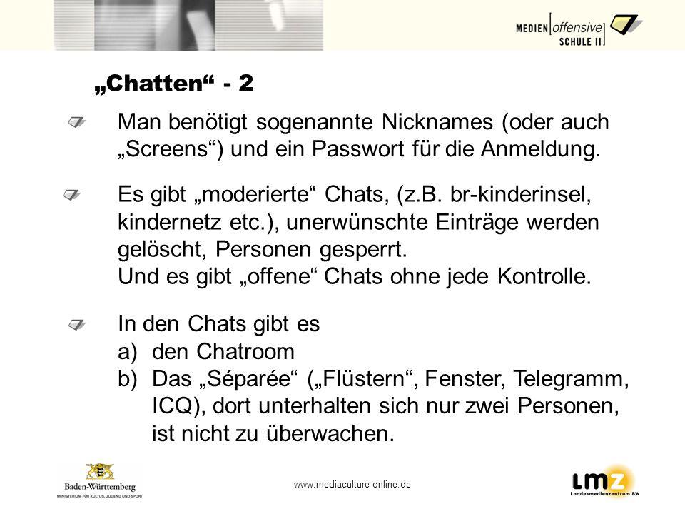 """""""Chatten - 2 Man benötigt sogenannte Nicknames (oder auch """"Screens ) und ein Passwort für die Anmeldung."""