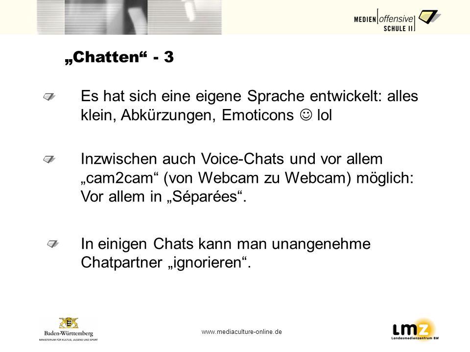 """""""Chatten - 3 Es hat sich eine eigene Sprache entwickelt: alles klein, Abkürzungen, Emoticons  lol."""