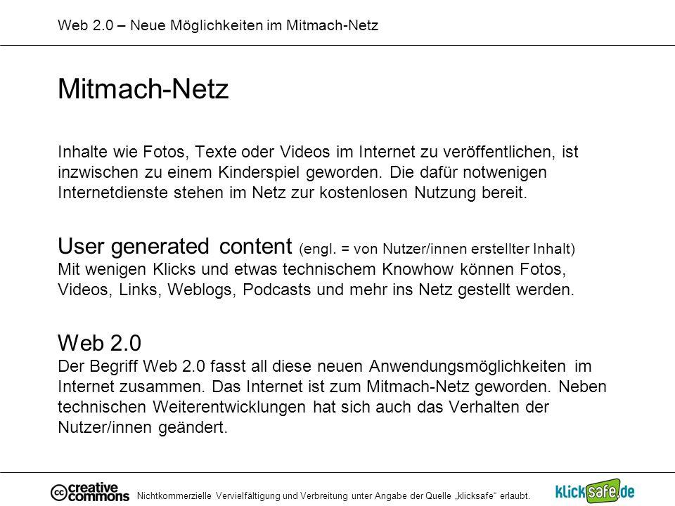 Web 2.0 – Neue Möglichkeiten im Mitmach-Netz