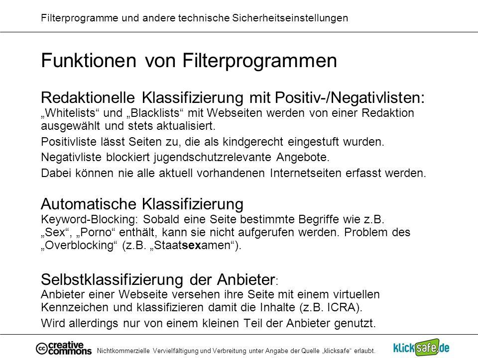 Filterprogramme und andere technische Sicherheitseinstellungen