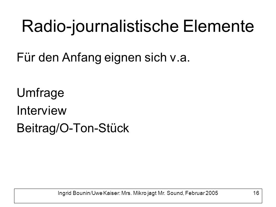 Radio-journalistische Elemente