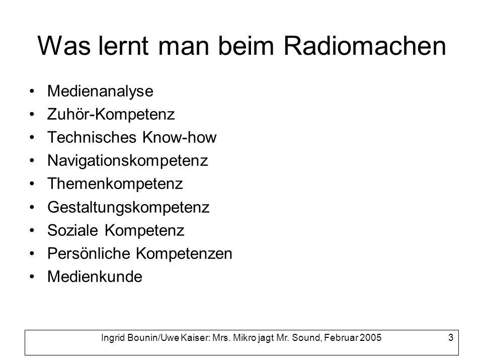Was lernt man beim Radiomachen