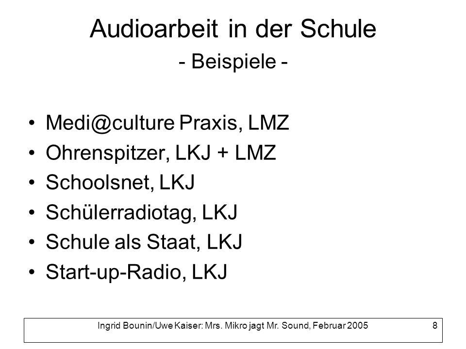 Audioarbeit in der Schule - Beispiele -