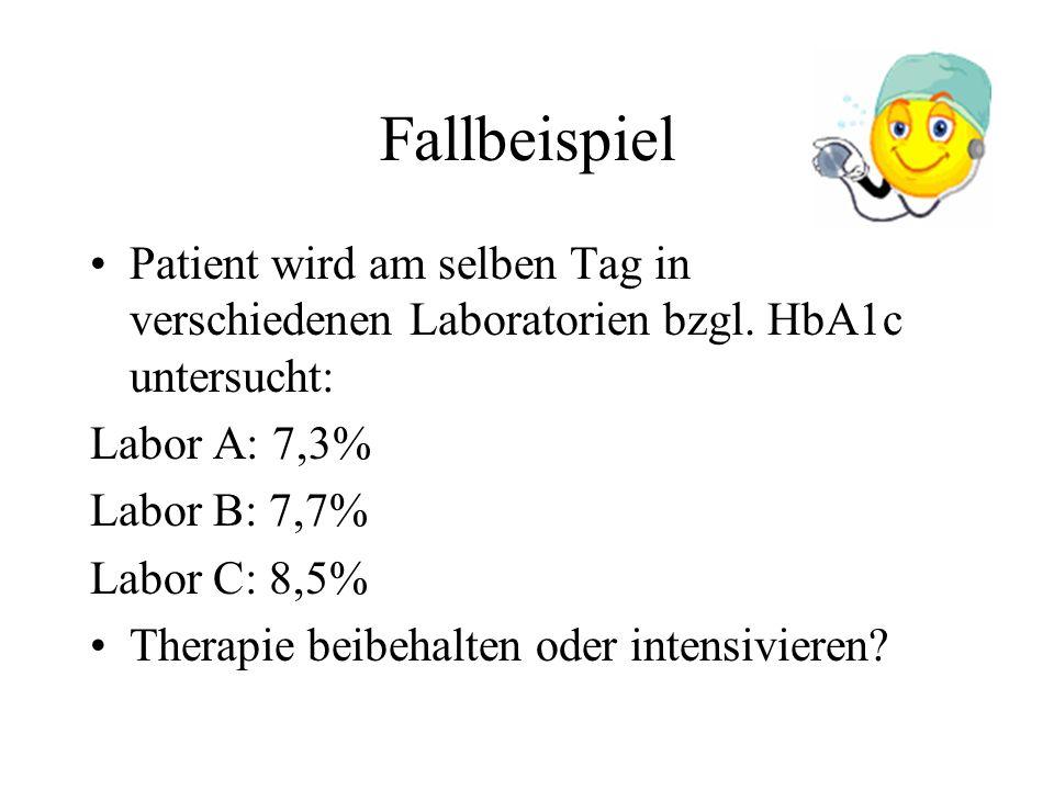 Fallbeispiel Patient wird am selben Tag in verschiedenen Laboratorien bzgl. HbA1c untersucht: Labor A: 7,3%