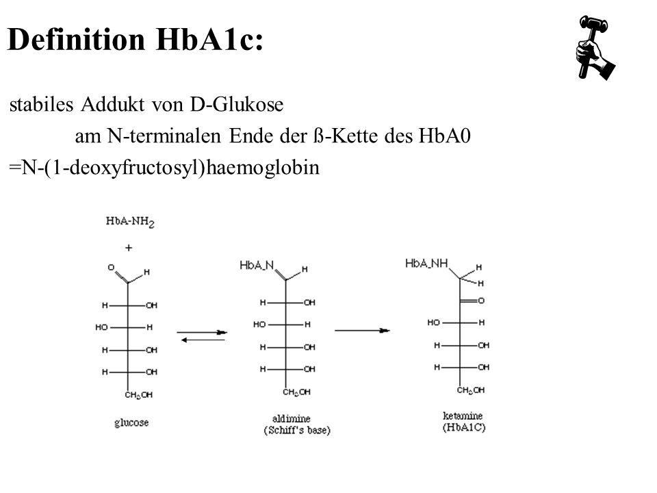 Definition HbA1c: stabiles Addukt von D-Glukose