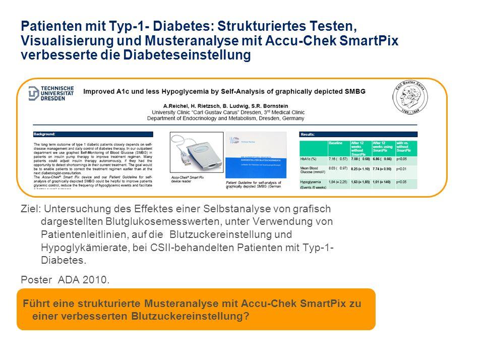 Patienten mit Typ-1- Diabetes: Strukturiertes Testen, Visualisierung und Musteranalyse mit Accu-Chek SmartPix verbesserte die Diabeteseinstellung