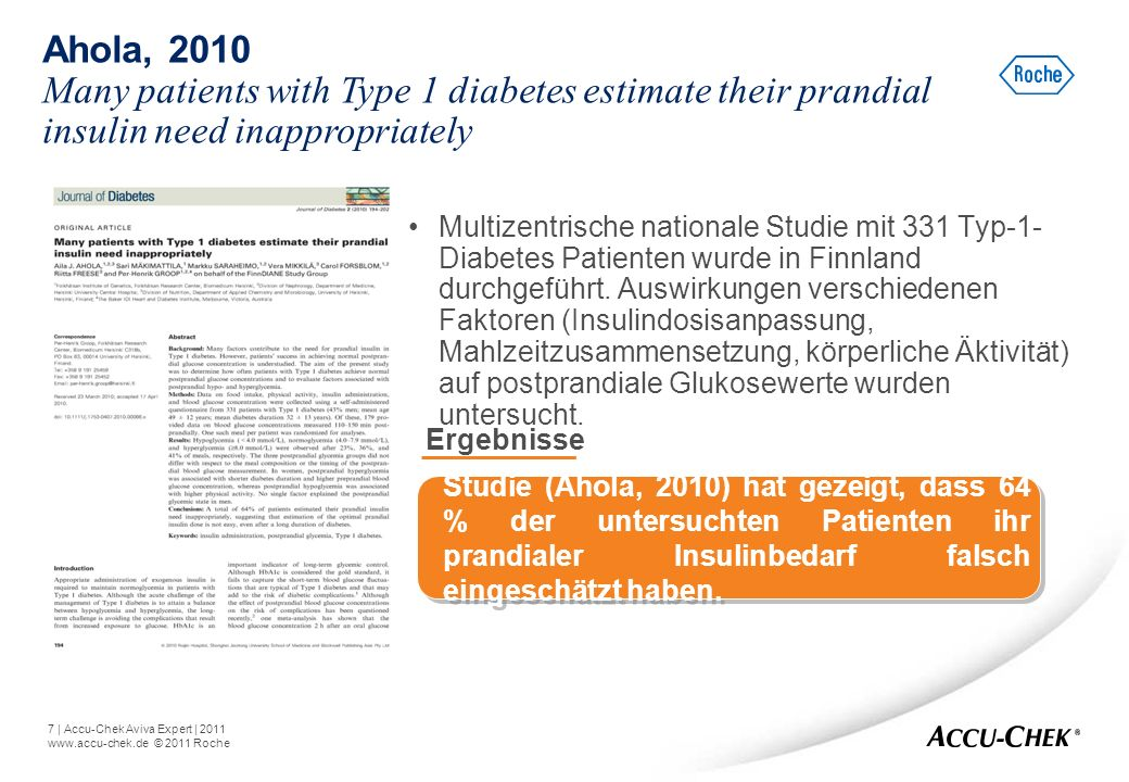 Ahola, 2010 Many patients with Type 1 diabetes estimate their prandial insulin need inappropriately