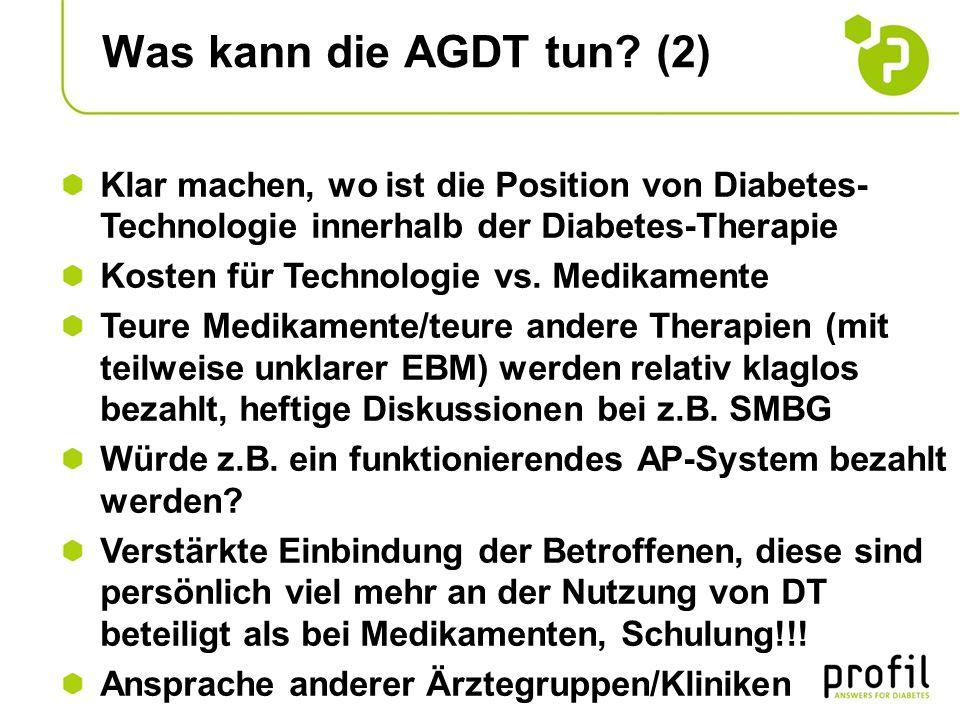 Was kann die AGDT tun (2) Klar machen, wo ist die Position von Diabetes-Technologie innerhalb der Diabetes-Therapie.