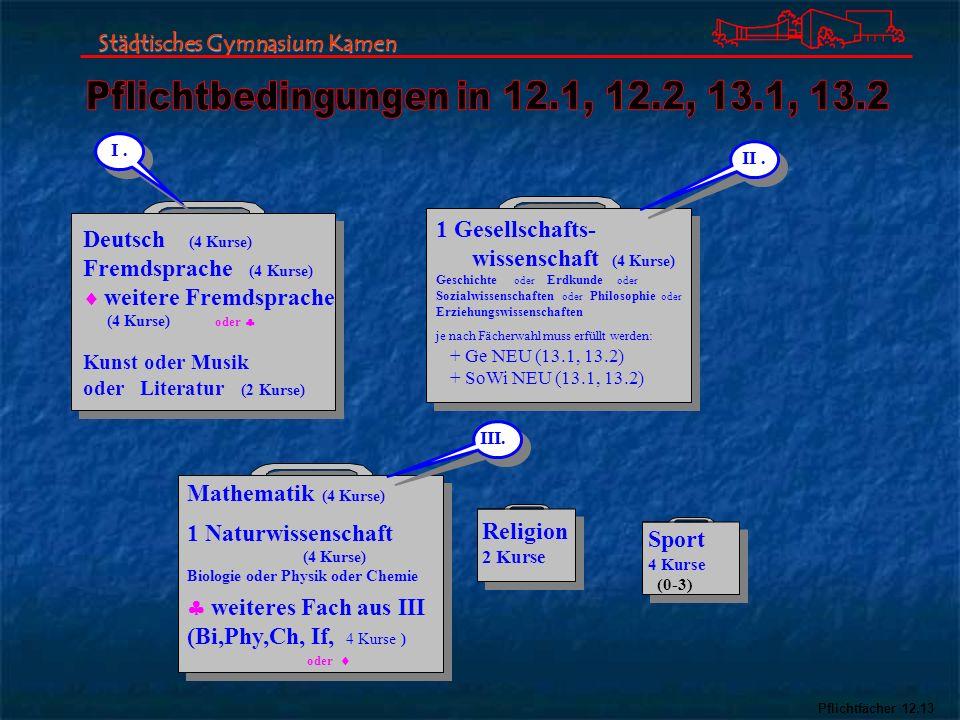 Pflichtbedingungen in 12.1, 12.2, 13.1, 13.2